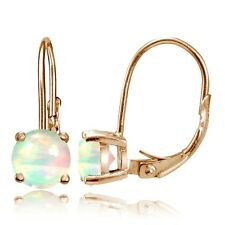 Rose Gold Tone over Silver 1.1ct Ethiopian Opal 6mm Round Leverback Earrings