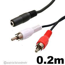 Audio-Adapter-Stereo Klinken-BUCHSE 3,5mm auf 2x Cinch-STECKER 0,2m
