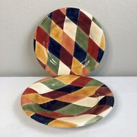 Ciao Harlequin by Artimino Dinner Entree Plates Colorful Hand Painted SET of 2