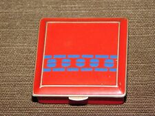 VINTAGE RED & BLUE  METAL MAKEUP COMPACT CASE