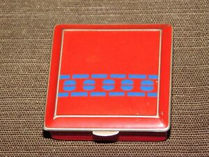 VINTAGE RED & BLUE  METAL MAKEUP COMPACT CASE