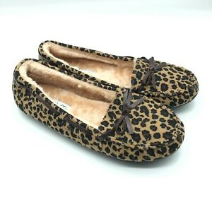Wells Womens Slippers Moccasins Leopard Print Faux Fur Lined Bow Brown Size 9