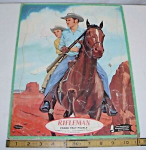 THE RIFLEMAN TV WESTERN CHUCK CONNORS PICTURE PUZZLE WHITMAN 1960 COLORFUL