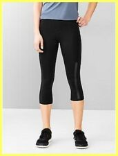 NWT $59.95 GAP FIT GAPFIT GFAST BLACK MESH PANEL INSERTS YOGA RUN CAPRI PANTS XS