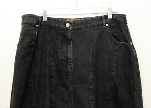 Liz & Me Signature Jean Skirt 22W Black Denim Long Elastic Waist Cotton Blend