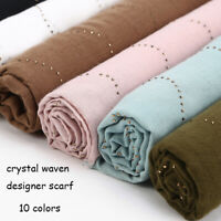 Women's Cotton Glitter Rhinestones Scarf Shawls Hijab Long Wraps Scarves Muffler