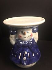 """Snowman Blue and White Christmas  Candleholder  4 1/4"""""""