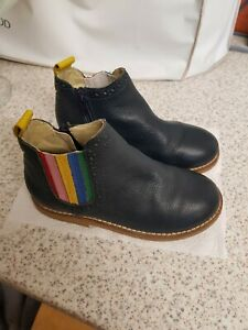 Mini Boden Leather Childs Boots Navy Rainbow Vgc Size 29 UK 11