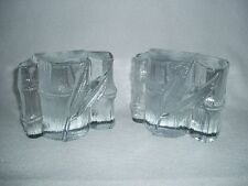 Vintage Blenko Glass Crystal Bamboo Bookends  Free U.S. Shipping