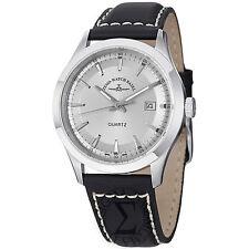 Zeno Men's VintageLine Silver Dial Black Leather Strap Swiss Watch 6662-515Q-G3