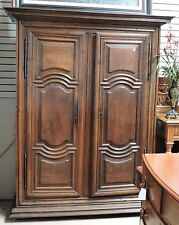"Antique French Louis XIII Style Walnut Armoire Carved Solid Doors H 84"" x W 65"""