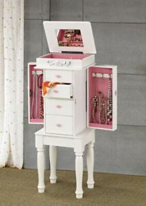 White Jewelry Armoire with Pink Hardware and Lining