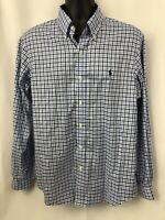 Polo Ralph Lauren Mens Non-iron Blue Plaid Long Sleeve Button Down Shirt Size L