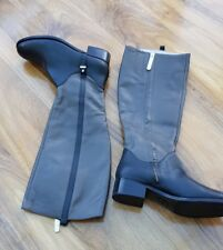 BODEN LADIES Grey/Black Real Leather BOOTS SIZE 38 UK 5 BRAND NEW.