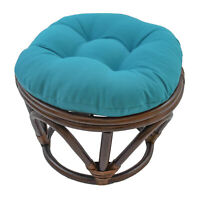 18-inch Round Solid Twill Tufted Footstool Cushion - Aqua Blue