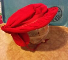 Adorable Vintage 50s/60s Baby Girls Red Velveteen Hat Earflaps Sears Cute