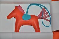 Authentic New Hermes Rodeo Horse Orange/Blue Leather Key Chain Bag MM