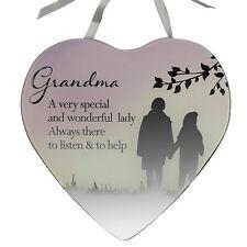 Reflections Espejo de Cristal Corazón Colgante Placa – Abuela