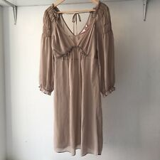 Leona Edmiston Beige Sheer Shift Dress with Long Bell sleeve, Size 10