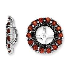 Platinum Sterling Silver Black Sapphire Red Garnet Halo Earring Jackets For Stud