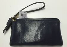 NWT COACH POPPY TEXTURED PATENT DOUBLE ZIP WALLET WRISTLET BRASS NAVY F49935