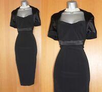 Karen Millen UK 12 Black Short Sleeves Bolero Detail Cocktail Shift Dress EU 40
