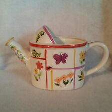 Ceramic Watering Can White w/Flowers Ladybug Butterfly in Sections China