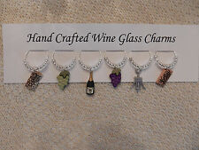 """"""" GRAPES/WINE/CHAMPAGNE"""" SET OF 6  Wine Glass Charm drink markers"""