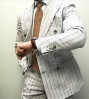 White Striped Men's Suit Coat Blazer 2 piece Wedding Groom Fashion Lined Custom