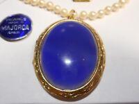 HOBE 25CT Blue Jade LOCKET Necklace Choker 5mm Majorca Pearls Vintage