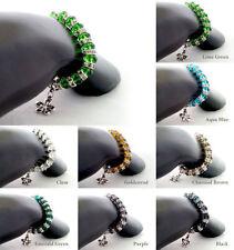 Tibetan Silver Rhinestone Costume Charms & Charm Bracelets