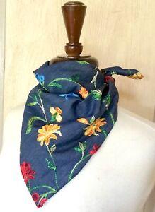 "Bandana Scarf Hair Chambray Dark Denim Embroidery Flowers Multi 20"" Sq NEW"
