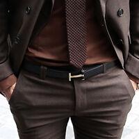 ByTheR Men's Solid Black Leather Strap Classic Simple T Shape Buckle Suit Belt