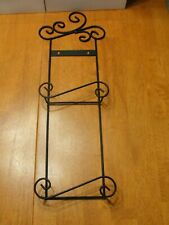 "Ornate Rustic Black Metal 2 Plate Photo Holder Rack 25"" Vertical Art Wall Decor"