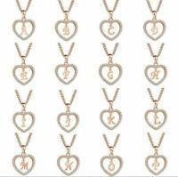 Rose Gold Necklace Love Heart Initial Letter Alphabet Charm Pendant Necklace
