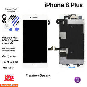 NEW iPhone 8 Plus Retina LCD Digitiser Touch Screen Full Assembly w/Parts WHITE