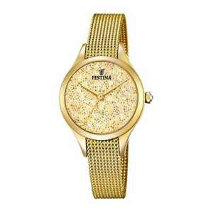 Original FESTINA Watch Mademoiselle Female With crystals IP Gold - F20337-2