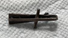 Sideways Cross Gun Metal Gray Lapel Pin Unique