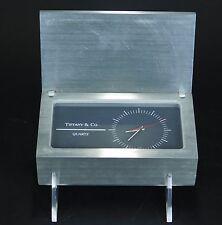 Vintage Tiffany & Co. Desk Clock Quartz Movement Stainless Steel Box WORKS TQ75