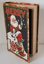 Retro Merry Christmas Santa Faux Book Storage Gift Stash Box Wooden 11 Inch