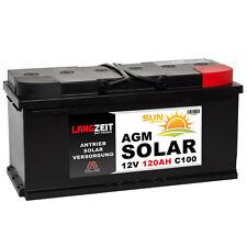 LANGZEIT 12V 120AH AGM Batterie Solarbatterie Wohnmobil Boot Schiff Solar 100Ah