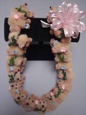 Hawaiian Beige Teddy Bear Pom Pom Lei Graduation Gift maile asst flowers