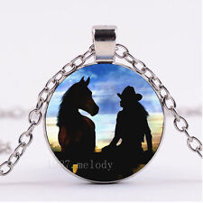 NEW Cabochon Glass necklace Silver/Bronze/Black pendant(Cowgirl and Horse)