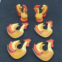 Set of 6 Holt Howard Vintage Rooster 2~Shakers Salt & Pepper 4~Snack Dishes 1960