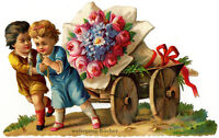 Vintage Victorian die cut paper scrap, Kids drag a flower wagon, from ca. 1882