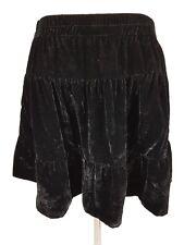 Decjuba Black Crushed Velvet Tiered Waterfall Skirt Viscose Silk Size 10