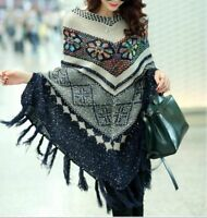 Women Winter Poncho Knit Sweater With Tassel And Sequins Oversized Pullover Cape