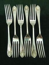 6 Vintage 1917 Walker & Hall Dessert Side Forks Shell pattern Silver plated #1