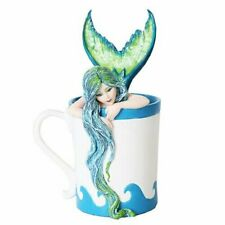 Ptc 5.25 Inch Morning Bliss Mermaid in Coffee Cup Statue Figurine