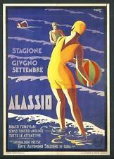 Alassio ( Savona ) - Riproduzione moderna su cartolina di manifesto d'epoca